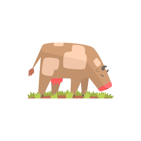 Cow grazing on a summer pasture, dairy cow cartoon vector Illustration