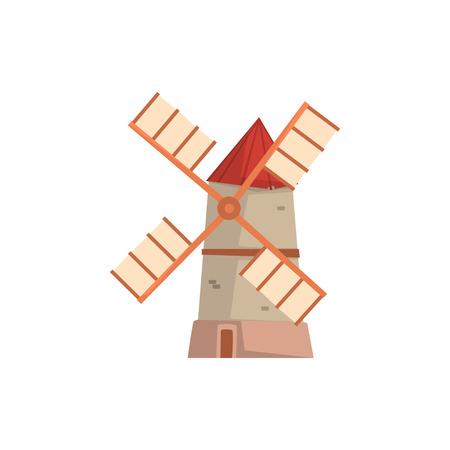 Traditional European windmill, medieval building cartoon vector Illustration Illusztráció