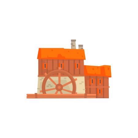 Ancient windmill, medieval wooden building cartoon vector Illustration