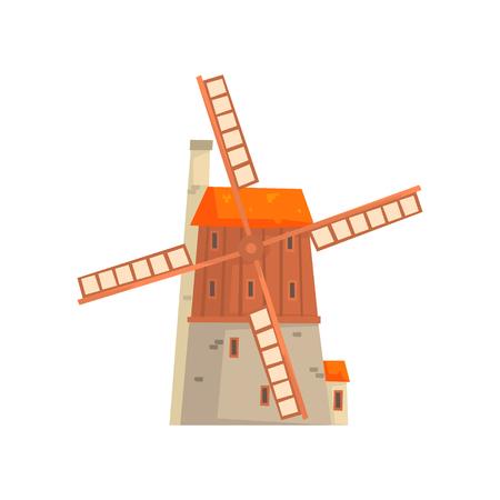 Ancient windmill medieval building cartoon vector Illustration