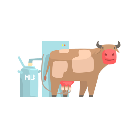 Cow milking facility, mechanized milking equipment cartoon vector Illustration