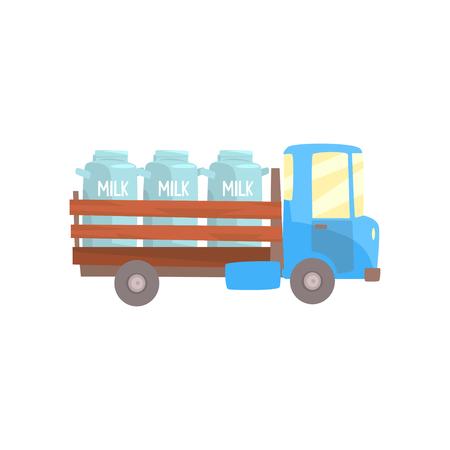 Retro milk farmer truck, delivery and transportation of milk cartoon vector Illustration