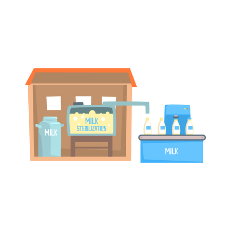 Process of milk sterilization, milk factory conveyor pouring and packing bottles with milk cartoon vector Illustration