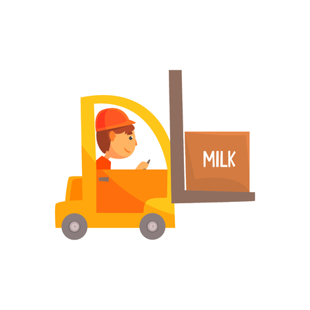 Yellow forklift truck with box of milk, dairy product transportation cartoon vector Illustration