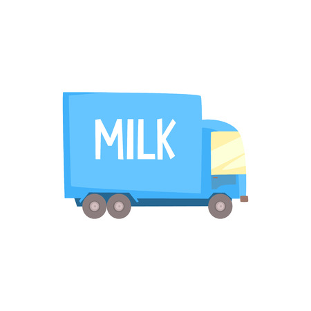 Dairy milk truck with milk logo, delivery and transportation of milk cartoon vector Illustration Stock Vector - 87019638