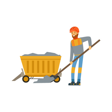 Male miner in uniform working in mine with wheelbarrow, professional miner at work, coal mining industry vector Illustration Иллюстрация