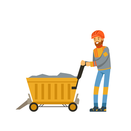 Male miner worker in uniform transporting ore in trolley, professional miner at work, coal mining industry vector Illustration