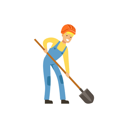 Male miner in uniform working with shovel, professional miner at work, coal mining industry vector Illustration