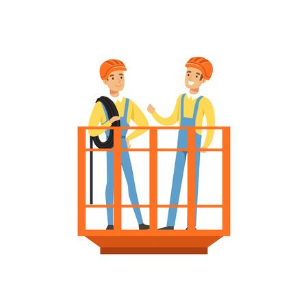 Mannelijke mijnwerkers in eenvormige status in mijnlift, professionele mijnwerkers op het werk, de vectorillustratie van de mijnbouwindustrie Stock Illustratie