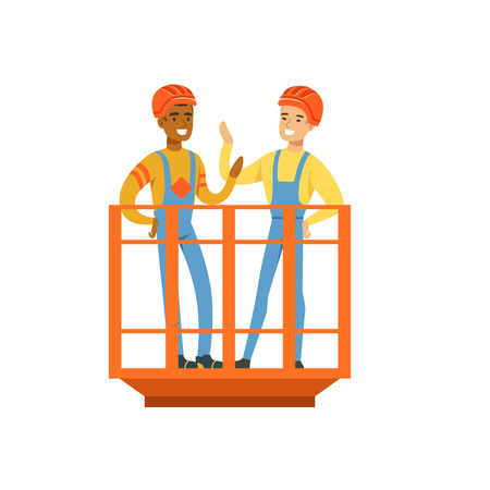 Talking and smiling male miners in uniform standing in mine lift, professional miners at work, coal mining industry vector Illustration Illustration