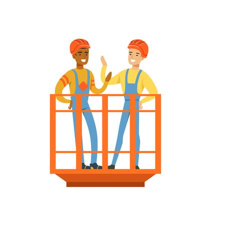 Unterhaltung und lächelnde männliche Bergmänner in der Uniform, die im Bergwerk steht, berufliche Bergmänner bei der Arbeit, Kohlenbergbau-Vektor Illustration