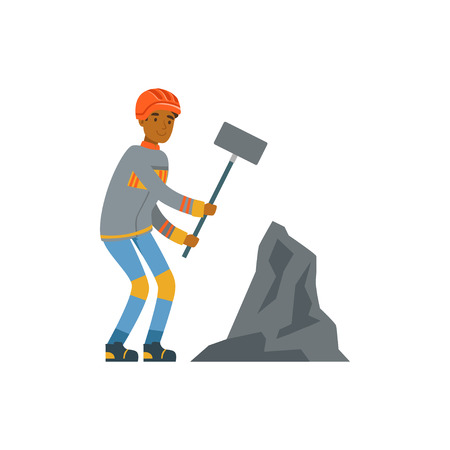 Male miner in uniform working with hammer, professional miner at work, coal mining industry vector Illustration