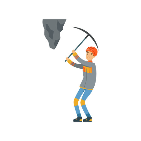 Male miner in uniform working at the coal mine with pickaxe, professional miner at work, coal mining industry vector Illustration