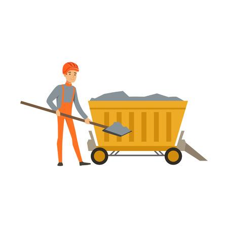수레와 삽으로 광산에서 일하는 남성 광부, 직장, 석탄 광산 업계에서 전문 광부 벡터 일러스트 레이션