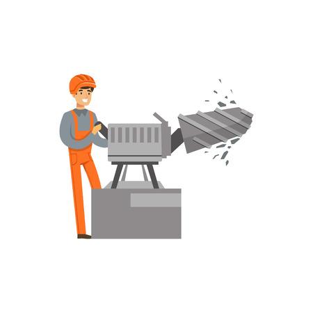 Mannelijke mijnwerker in het eenvormige werken met de machine van de ertsboring, professionele mijnwerker op het werk, de vectorillustratie van de mijnbouwindustrie Stock Illustratie