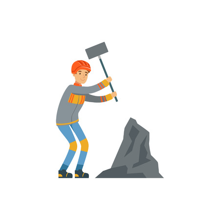 Male miner in uniform working at the coal mine with hammer, professional miner at work, coal mining industry vector Illustration