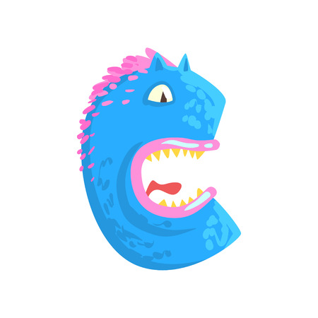 Cartoon character monster letter C