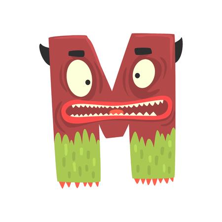 Cartoon character monster letter M Иллюстрация
