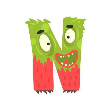 Cartoon character monster letter N Иллюстрация