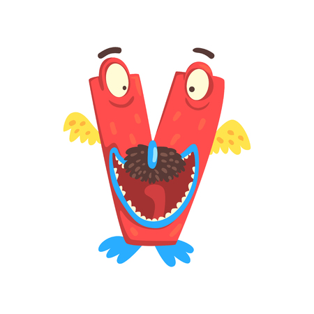 Cartoon character monster letter V