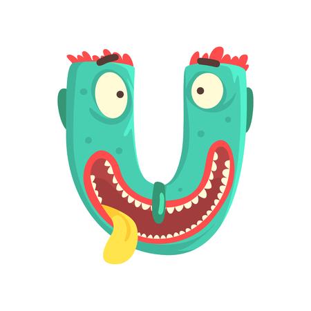 Cartoon character monster letter U