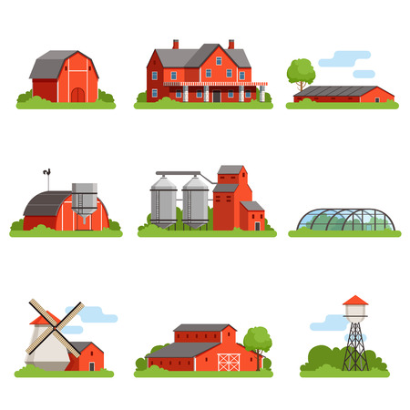 Farm house and constructions set, agriculture industry and countryside buildings vector Illustrations Stock Vector - 87227977