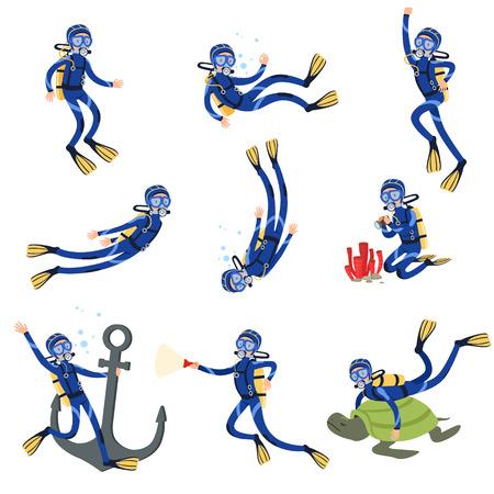 Duiken en snorkelen set, duiker in onderwater zwemmen in masker snorkel en vinnen vector illustraties