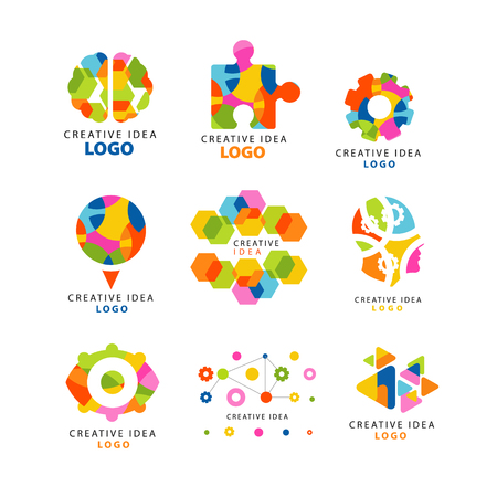 Creative idea logo, abstract colorful elements and symbols for web site, advertising, banner, poster, banner, presentation vector Illustrations