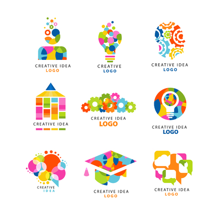 education concept: Creative idea logo design template, abstract colorful elements and symbols for web site, advertising, banner, poster vector Illustrations