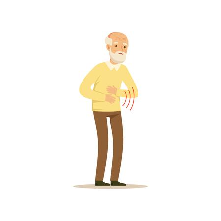Mannelijk karakter Buikpijn Oude Kleurrijke Toon Leuke Illustratie