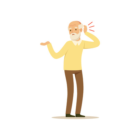 Male Character Old Bad Hearing Colourful vector Toon Cute Illustration