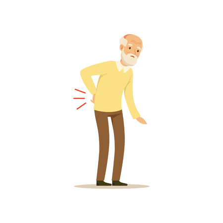 Male Character Old Bad back Colourful vector Toon Cute Illustration