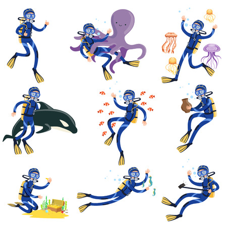Diving and snorkeling set, diver in underwater swimming and searching treasures on sea bottom vector Illustrations 일러스트