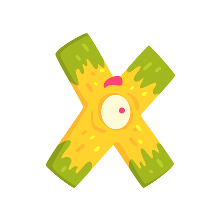 Cartoon character monster letter X Illustration