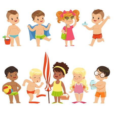 Cute Kid Toons On The Beach Seaside