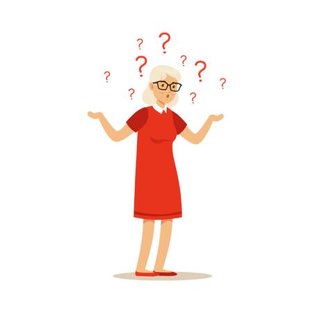 Alzheimers와 함께 올드 여성 캐릭터 다채로운 벡터 툰 귀여운 일러스트 레이션