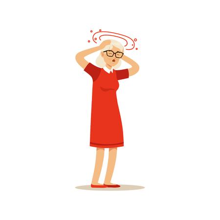 古い女性の文字感めまい片頭痛頭痛カラフルなベクトル漫画かわいいイラスト  イラスト・ベクター素材