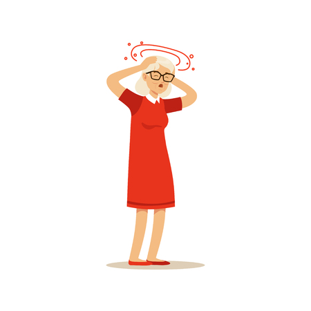 Old Female Character Feeling Vertigo Migraine Headache Colourful vector Toon Cute Illustration