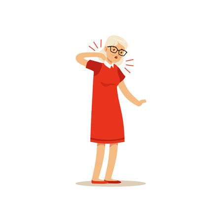 Nech에서 통증을 느끼는 오래 된 여성 문자 다채로운 벡터 툰 귀여운 그림 일러스트