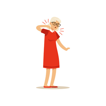 Old Female Character Feeling Pain In The Nech Colourful vector Toon Cute Illustration 向量圖像