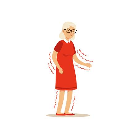 오래 된 여성 캐릭터 연약한 흔들리는 팔 비정상적으로 다채로운 벡터 툰 귀여운 그림