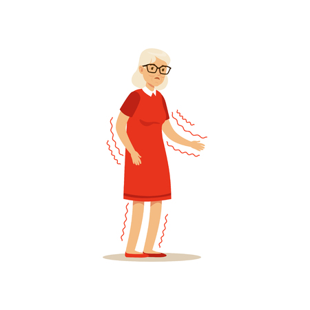 Old Female Character Frail Shaky Arms Unsteady Colourful vector Toon Cute Illustration