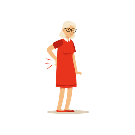 Old Female Character Has A Bad back Pain Colourful vector Toon Cute Illustration