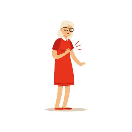古い女性キャラクターの胸の痛みのカラフルなベクトル漫画かわいいイラスト  イラスト・ベクター素材