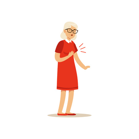 Old Female Character Chest Pain Colourful vector Toon Cute Illustration 向量圖像