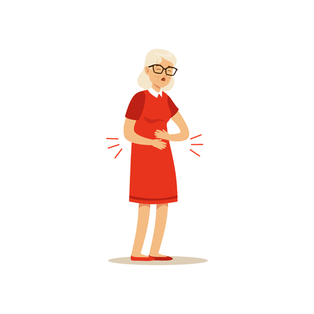 Oude vrouwelijke karakter slechte gewrichten artritis Kleurrijke vector Toon leuke illustratie Stock Illustratie