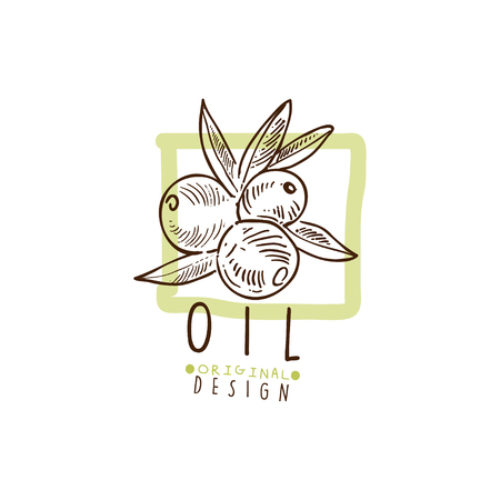 Olive Oil Label With Some Olives Hand Drawn On A Branch Ilustrace