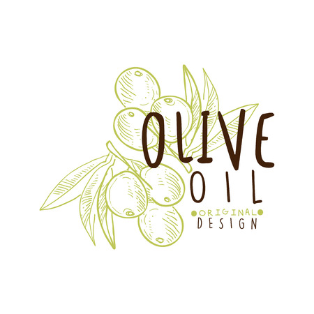 Olive Oil Label With Olive Branch
