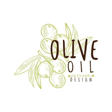 Olivenöl-Etikett mit Olivenzweig Standard-Bild - 87228001