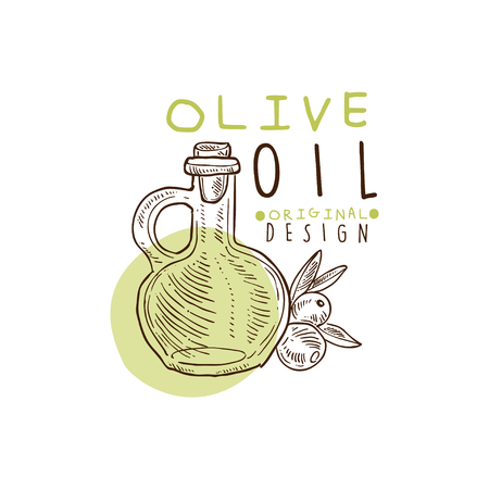 Olive Oil Label With Flask And Some Olives Hand Drawn